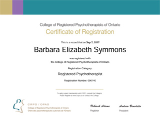 Barbara Symmons, College of Registered Psychotherapists of Ontario